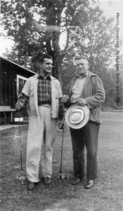 1940. A picture of Herman Gundlach Jr. and Sr. with fishing poles before Winks left to serve in WWII.