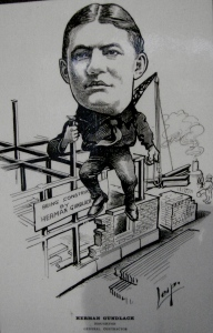 "1904 Caricature of Herman Gundlach Sr. by the Newspaper Cartoonists' Association. Shown in the post of ""King of all he surveys."" Courtesy of Joe Kirkish."